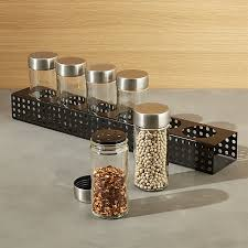 metro 6 jar black spice rack crate and barrel