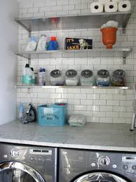bathroom tinny laundry room design with chic marble washing