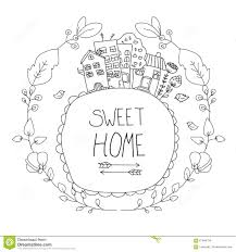 drawing houses with flowers stock vector image 67946794