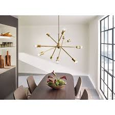 Kichler Lighting Hendrik by Kichler Armstrong Natural Brass Ten Light Starburst Pendant