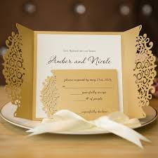 invitations for wedding formal gold laser cut wedding invitation cards with band swws007