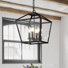 Black Iron Ceiling Light Retro Pendant Light Industrial Black Iron Cage Chandeliers 4 Light