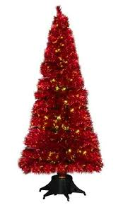 6ft metallic red colour changing fibre optic christmas tree