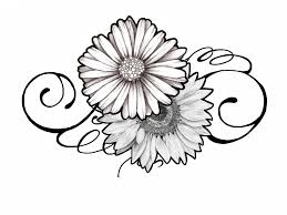 tattoo design daisy and sunflower swirly by johnnyschick