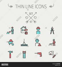 construction thin line icon set vector u0026 photo bigstock