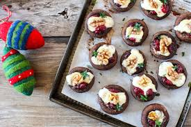 festive brie cranberry stuffed mushrooms oliver features