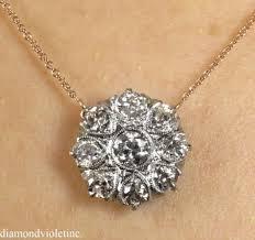 vintage diamond necklace pendants images Ct antique vintage edwardian old euro diamond flower pendant JPG