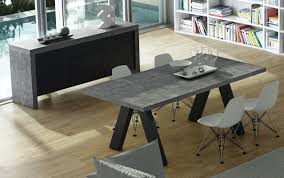 Extended Dining Table by 9500 613173 Apex Extending Dining Table In Concrete Pure Black