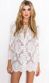 trust your imagination white lace long sleeve lace up v neck mini