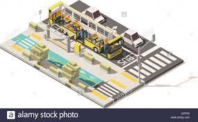 isometric floor plan vector isometric low poly bus on the bus lane stock vector art