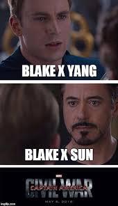 Blake Meme - rwby shippers blake x yang blake x sun image tagged in marvel