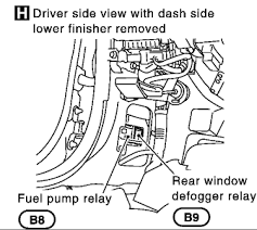 where is the location of the fuel pump relay on a 2002 i 35 all