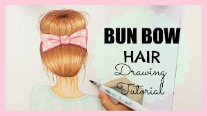 drawing tutorial how to draw and color bun bow hair youtube