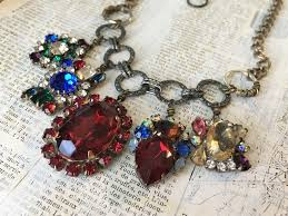 vintage wedding necklace images Colorful rhinestone waterfall statement necklace czech glass jpg