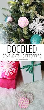 doodled ornaments gift toppers