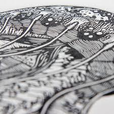 jellyfish linocut print inkonk