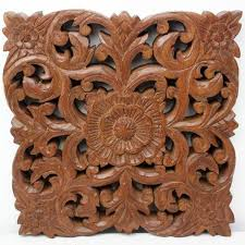 wall decor lotus flower brown 12 inch set of two carved wood panel