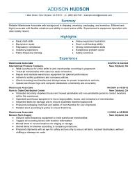 Job Skills Resume by Best Warehouse Associate Resume Example Livecareer