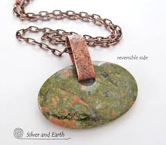 copper jewelry necklace images Unakite pendant necklace on antiqued copper chain big stone jpg