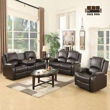Recliner Sofa Suite 3 2 1 Seater Leather Recliner Sofa Suite Living Room Brown