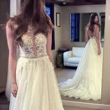 sequined wedding dress a line bateau backless sequined wedding dress with pearls