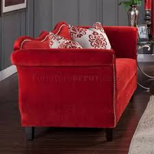Red Loveseat Sofa Sm2232 In Ruby Red Fabric W Options
