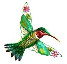 Amazon Bejeweled Display Hummingbird w Glass Wall Art