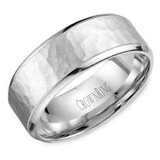 mens hammered wedding bands crown ring wb 9968 m10 hammered wedding band