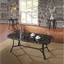 3 piece end table set daisy faux marble 3 piece coffee and end table set black walmart com