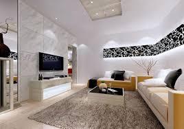 Living Room Design Television Living Room White Porceline Flooring Black Sofa Black Coffee