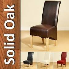 Scroll Back Leather Dining Chairs Leather Dining Chairs Scroll High Back Oak Legs Furniture