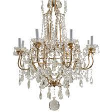 Italian Porcelain Chandelier Vintage Italian Gilded Macaroni Beaded Crystal Prism Chandelier