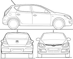 2008 hyundai i30 hatchback blueprints free outlines