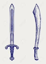 ornamental dagger doodle style royalty free cliparts vectors and