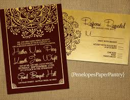 Wedding Invitations With Rsvp Cards Included Burgundy And Gold Wedding Invitationindia Inspiredelegant