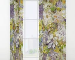 Pastel Coloured Curtains Vintage Postcard Butterfly Window Curtains 50 X 84