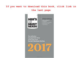 Hbr S 10 Must Reads by Free Pdf Hbr S 10 Must Reads 2017 The Definitive Management Ideas Of