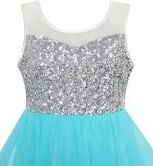 flower dress sequin mesh party wedding princess tulle blue