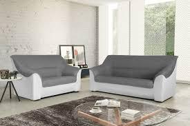 canapes 3 places canapé 3 places contemporain tissu gris pu blanc guelma canapé