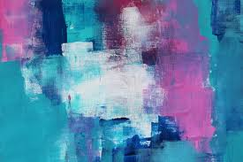 create abstract art using a blue green and pink colour