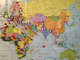 World Map With Pins by The Bucket List Rtw 360 Trip