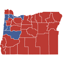 political map of oregon winning elections in oregon county by county results show
