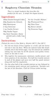 formatting an aesthetically pleasing recipe book template tex