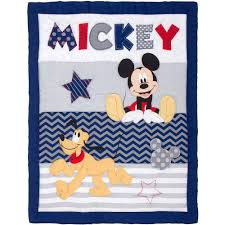 Mickey Mouse Crib Bedding Sets Disney Let S Go Mickey Ii 4 Crib Bedding Set Walmart