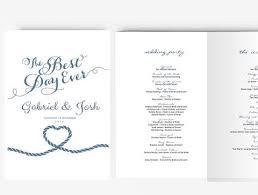 Beach Wedding Program Templates Wedding Invitation Stationary Set Diy Editable Ms Word Template