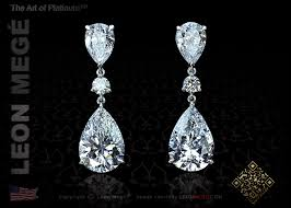 dimond drop e6605 mege pear shaped diamond drop earrings