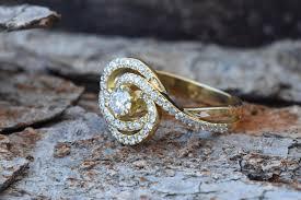 art deco ring diamond vintage engagement ring 18k gold ring women