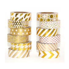 washi tape high quality gold foil 10m paper tape dot strip pineapple heart