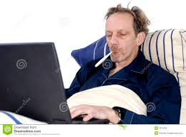 sick bed workaholic sick in bed with laptop stock image image of