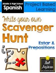 spanish scavenger hunt project estar prepositions tpt